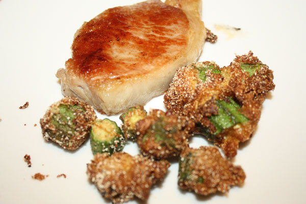 brined pork chop with fried okra
